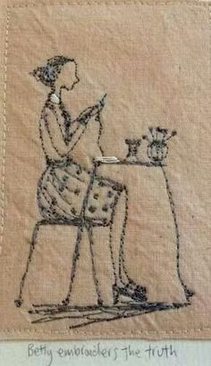 Michelle Holmes 'Betty embroiders the truth' Embroidery Art, Embroidery Applique, Cross Stitch Embroidery, Embroidery Patterns, Machine Embroidery, Thread Art, Thread Painting, Sculpture Textile, Free Motion Embroidery