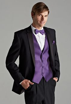 Jos A. Banks satin-notch lapel tuxedo, a stylish choice for any season. Win this look for your groom plus so much more as part of our Brides Live Wedding program. To enter, facebook.com/brideslivewedding