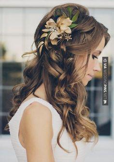 Long flow-y romantic wedding hair