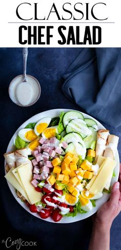 Jun 2019 - This Classic Chef Salad recipe is full of healthy, energizing ingredients and includes a simple homemade salad dressing! This is easy to make ahead of time and makes a great lunch or dinner!
