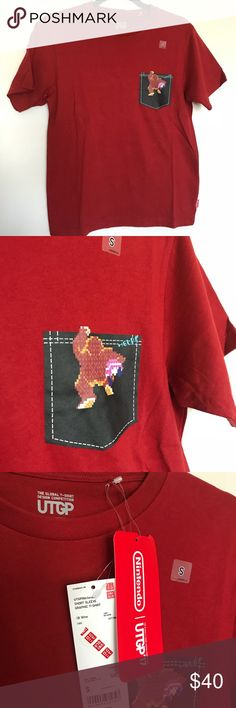 Red Donkey Kong Uniqlo Nintendo T-Shirt LIMITED Edition - Nintendo x Uniqlo collab from Japan Size S Men's Brand NWT Uniqlo Shirts Tees - Short Sleeve