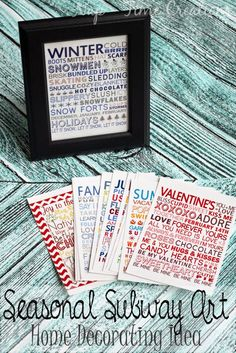 seasonal subway art for home decorating. seasonal home decorating ideas with free printables.