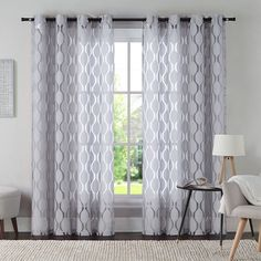 Vcny 1 Panel Aria Window Curtain Grey