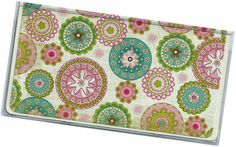 Checkbook Cover  Graceful Pink Blue Green by rabbitholeonline, $6.25
