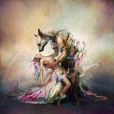 'album cover art' ~canine man holding woman illustration by Ryohei-Hase (on deviantart)