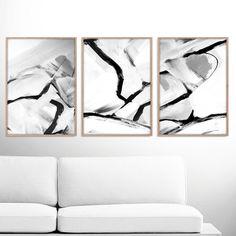 abstract art print set 3 black white abstract art printable