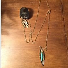 """Leaf Me Alone"" Turquoise Necklace NWT Wear this necklace alone or layer the look with other necklaces  This gold necklace has a leaf and turquoise embellishment and gold leaf earrings to accompany it Jewelry Necklaces"