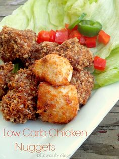 Low Carb Chicken Nuggets - Induction Friendly -  Good and spicy! 2.0 net carbs per serving - Tip: make lettuce wraps with nuggets, jalapeno, onion, red pepper with a sour cream and salsa dip