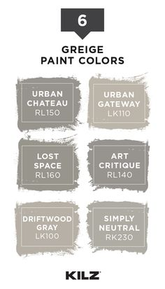 When it comes to your next DIY home makeover project, choose a greige paint color to create a timeless long-lasting style. KILZ COMPLETE COATⓇ Paint Primer has plenty of neutral shades for you to choose from. Click below to get inspired. House Paint Exterior, Exterior Paint Colors, Exterior House Colors, Paint Colors For Home, Walmart Paint Colors, Painting Tips, House Painting, Room Colors, Wall Colors