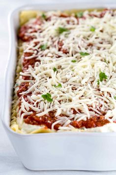 Meat lasagna is the perfect Italian comfort food! Tender pasta noodles layered with tomato sauce, ground beef, chopped pork sausage, creamy ricotta, and mozzarella cheese. Sausage Lasagna, Baked Lasagna, Lasagna Casserole, Meat Lasagna, Casserole Dishes, Cheese Lasagna, Ground Beef Lasagna Recipe, Italian Dishes, Italian Pasta