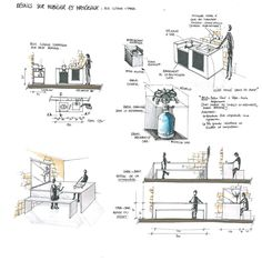 Deuxième greffe en Design d'Espace! - Mars 2012                                                                                                                                                                                 Plus Design Despace, Sketch Design, Creative Design, Plans Architecture, Interior Architecture, Interior Sketch, Designs To Draw, How To Draw Hands, Floor Plans