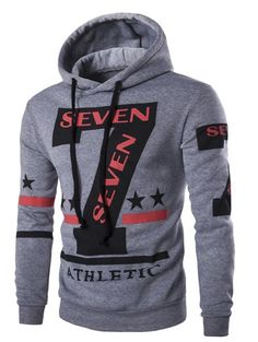 Fashion Hooded Letters Star Stripes Print Long Sleeves Hoodie For Men
