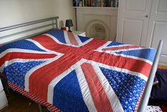 Union Jack Patchwork Quilt (Teals/Aquas - Neon Limes/Yellows - Pinks/Reds/Oranges)