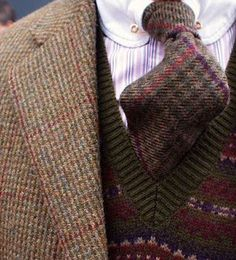 Window pane houndstooth tweed, Fair Isle sweater vest and club collar shirt with wool plaid tie.
