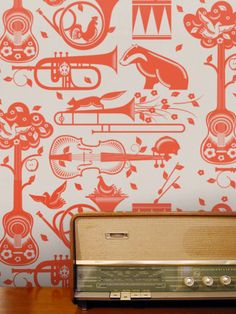 Mini Moderns Pet Sounds Wallpaper, Harvest Orange