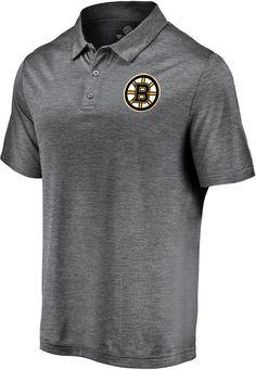 NHL Men's Boston Bruins Logo Heather Grey Polo