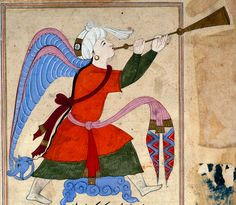 """The Archangel Israfil,"" detail, from ""The Wonders of Creation and Oddities of Existence"" ('Aja'ib al-Makhluqat) (1375-1425) Egypt or Syria. Opaque watercolor and ink on paper, 15 3/8 inches by 9 5/8 inches, British Museum Collection. (The Trustees of the British Museum)"