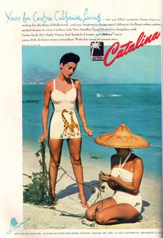 1946 Catalina Her bathing suit has giraffes on it!