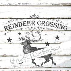 Reindeer Crossing Elk Deer North Pole by GraphicMarketplace