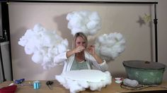 Cloud Lamp, Diy Cloud, Baby Shower Themes, Baby Boy Shower, Cloud Baby Shower Theme, Cloud Tutorial, Cloud Party, Hanging Clouds, Cloud Decoration