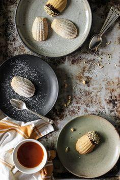 Classic French Madeleines: Lemon Earl Grey + Vanilla Bean & Dark Chocolate & Almond Dipped from /mskristygardner/ Tea Cakes, Shortbread, Cobbler, Macarons, Biscotti, Fudge, Dark Chocolate Almonds, Earl Grey Tea, French Food