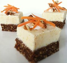 Skinny Carrot Cheesecake Bites ❁ Crust: 1 cup pre-soaked pitted dates, 1 cup unsweetened shredded coconut; 2 cups pecans; 1 tsp vanilla extract; 1 tsp cinnamon; ½ cup carrots ❁ Cheesecake: ½ cup light cream cheese; 1 tsp vanilla extract; ½ cup non-fat plain Greek yogurt; 2 TBsp honey (or agave, maple syrup or stevia); 3 packets of stevia; ⅓ cup pineapple chunks