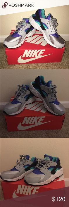 Nike huaraches Excellent condition. Wore once and it was brief. Women. Teal, purple and gray Nike Shoes Sneakers