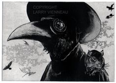 Raven artwork  Raven crow Plague Doctor  Etching 5 by RAVENSTAMPS