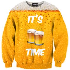 You know what time it is  It s beer time  Clink your glasses and drink up  Let the cold  gold drink bubble down your throat  How could life go on without beer? Our full print crewneck sweatshirts are uniquely crafted using a special sublimation techni