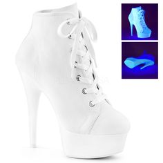 Women's Pleaser Delight Lace-Up Bootie-Pole Dancing Sexy Stripper Shoes High Heel Tennis Shoes, High Heel Sneakers, Sneaker Heels, Platform Ankle Boots, Platform High Heels, Shoe Boots, Ankle Bootie, Platform Sneakers, Sneakers Fashion