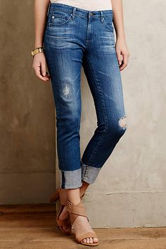 AG Stevie Slim Straight Cuffed Jeans - anthropologie.com
