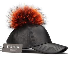 Big Real Raccoon Fur Ball Pom Poms Hat Hip Hop Leather Baseball Cap Snapback