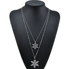 2.87$  Watch here - http://di1wy.justgood.pw/go.php?t=205932702 - Rhinestoned Snowflake Layered Necklace