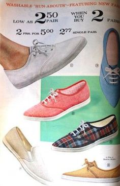 1960s Sneakers or tennis shoes. Plain and low with or without socks or tights.