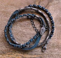 Lambskin Wrap Bracelet (Navy)