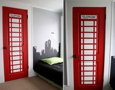 Лондонский стиль в интерьере. Красная телефонная будка в интерьере