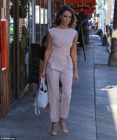 Jessica Alba wears Kenzo Kalifornia Bag and Max Mara Derna Ruched Crepe Nude Jumpsuits, Jessica Alba Style, Star Fashion, Womens Fashion, Pink Jumpsuit, Lace Midi Dress, Work Looks, Dress To Impress, Celebrity Style