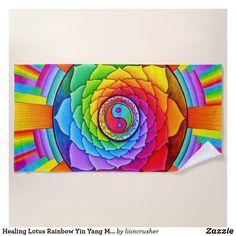 Healing Lotus Rainbow Yin Yang Mandala Beach Towel by Rebecca Wang on Zazzle.
