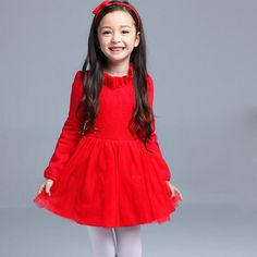 fall autumn summer kids dress girls dress with lace solid dress cute style a-line knee-length Christmas gift princess dress
