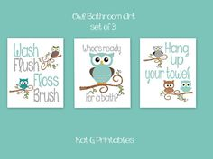 Printable Bathroom Art Kids Wall Art Owls Girl Pink Teal Green Orange Owl  Girls Bathroom Childrens Bathroom Set Of 3 INSTANT DOWNLOAD By Vtdesigns U2026