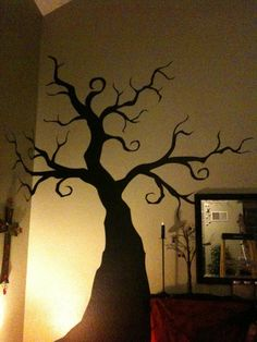 I found 'Halloween - Creepy Tree - Wall Decal - nightmare before christmas' on Wish, check it out! Spooky Trees, Halloween Trees, Halloween Birthday, Holidays Halloween, Halloween Crafts, Halloween Office, Halloween Window, Spooky House, Coraline