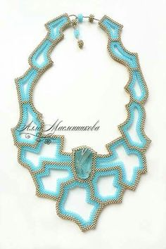 Bead embroidered and beadwoven (right angle weave) neckpiece by Alla Maslennikova.