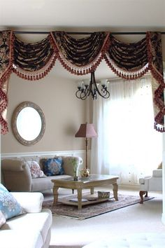 Royal Black pole swag valances curtain draperies