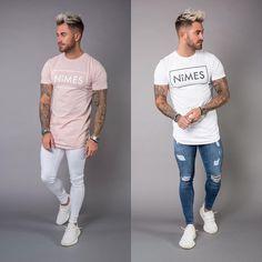 New Longline T shirts Spray On Jeans Sleeveless T shirts Denim Slim Shorts Available Online at www.nimes.co.uk #GetTheLook #NimesLtd #SS17 #MensFashion #StreetWear #Denim #Fashion