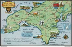 Map - South West Cornwall, c.1960 - Salmon Postcard