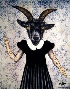 Print 8x10   The Baphomet  Goat Animal Pagan Folklore by chuckhodi, $10.00