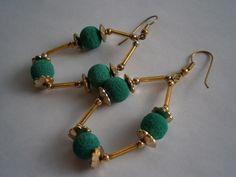 Ohrringe vintage 70er Jahre,grün,gold von kunstpause auf DaWanda.com