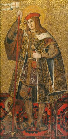 Spanish (Catalan) 15th century  Warrior Saint, 1490/1500  Tempera and oil on panel 72 x 42 7/16 in. (183 x 97.8 cm); painted surface: 66 x 32 3/4 in. (167.5 x 83.2 cm)