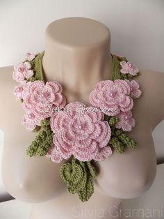 Необыкновенной красоты вязанные ожерелья от Silvia Gramani (Потругалия)