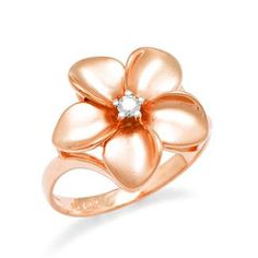 Plumeria Ring with Diamond in 14K Rose Gold - 16mm - from Maui Divers - This is my Necklace, from Hawaii 2012 :) ....so pretty I got my Momma one too!
